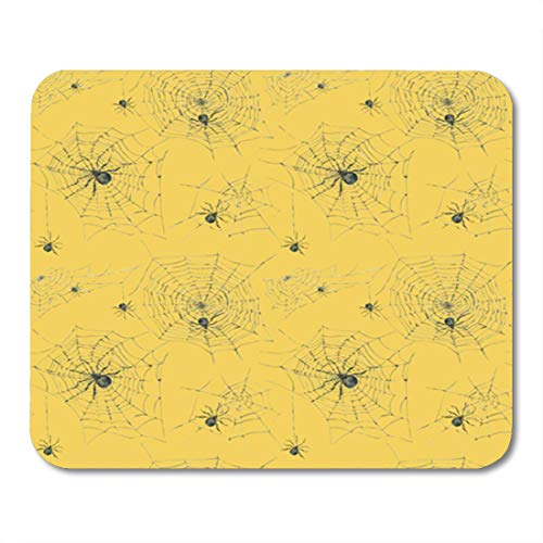 (Semtomn Gaming Mouse Pad Black Watercolor Spider and Scary Spiderweb Halloween on Yellow 9.5