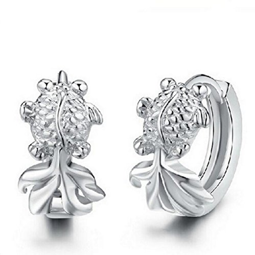 14k Goldfish Hook Earrings (Creativelife Women's S925 Silver Goldfish Earrings Korean Fashion Earrings)