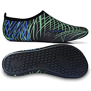 L-RUN Couple's Flexible Water Sports Skin Shoes Aqua Socks Black Green S(W:5.5-6)