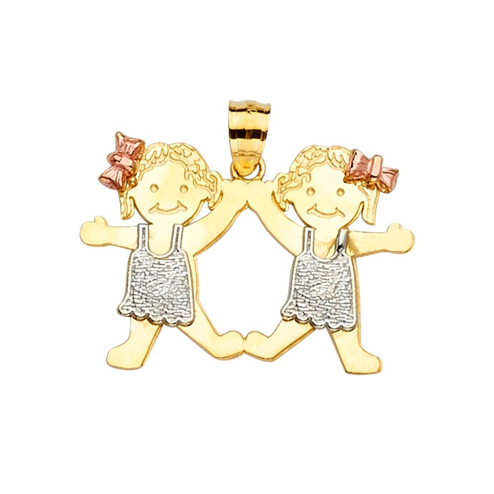 Sonia Jewels 14k White Yellow And Rose Tri Color Gold Boy or Girl Pendant 22mm X 28mm