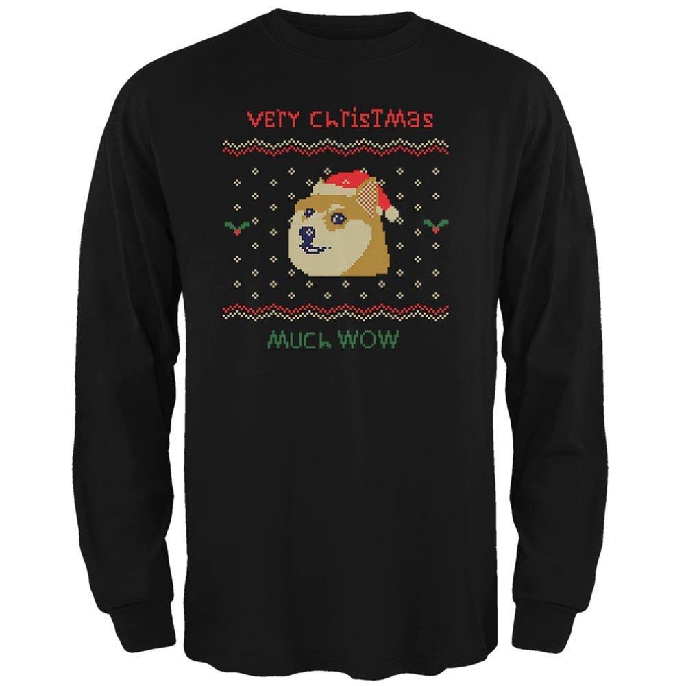 Doge Ugly Christmas Sweater Black Adult Long Sleeve T-Shirt Animal World AW035046
