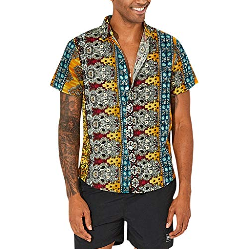 - Beautyfine Men shirt Cotton Printed Hawaiian T-Shirts Breathable Casual Short Sleeve Loose Tops Yellow