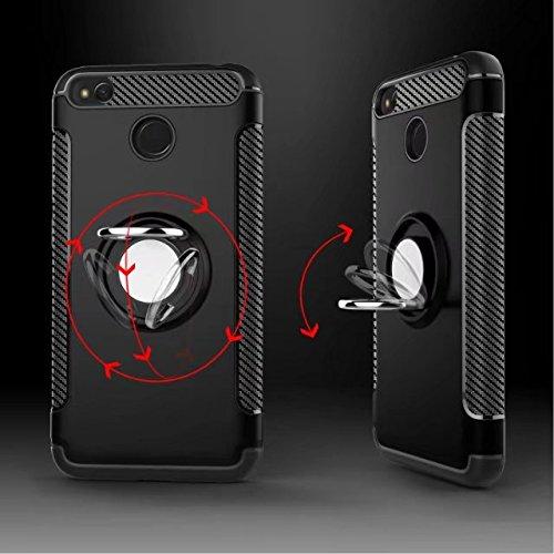 YHUISEN Redmi 4X Case, Armor Dual Layer 2 en 1 resistente a prueba de golpes caso de protección con 360 grados rotando titular del anillo de dedo y el caso del titular del coche del imán para Xiaomi R Navy
