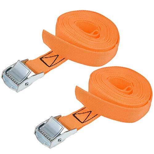 uxcell 荷物ストラップ ラチェット式 ベルト 荷物固定ロープ 荷物落下防止 カムバックル付き ロード250Kg 3Mx25mm オレンジ 2本入