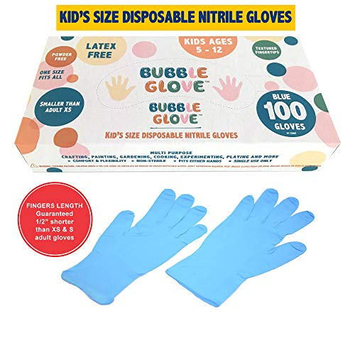Bubble Glove: Best Kids Nitrile Gloves (latex free, powder free, odorless, food safe) - Prevent Skin Allergy or Irritation for Multipurpose Use