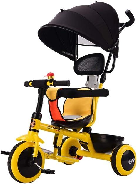 Hejok Bicicleta Triciclo para Niños Pequeños, Bicicleta Trike para Niños De 1 A 3 Años 4 En 1 Triciclo Plegable para Niños con Manija Desmontable De 3 Ruedas De Color Amarillo: Amazon.es: