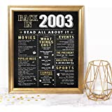 Katie Doodle Sweet 16 Party Supplies Decorations Gifts for Girls or Boys - Includes 8x10 Back-in-2003 Sign [Unframed] with Clear Display Easel (BD016)