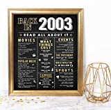 Katie Doodle Sweet 16 Party Supplies Decorations Gifts for Girls or Boys   Includes 8x10 Back-in-2003 Sign [Unframed], BD016, Black/Gold