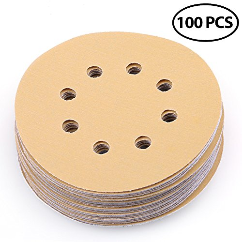 Sanding Disc 5 Inch 8 Hole 400 Grit Hook-and-Loop Sandpaper - Random Orbital Sander Round Sand Paper by LotFancy, Pack of 100 (400 Grit Hook)
