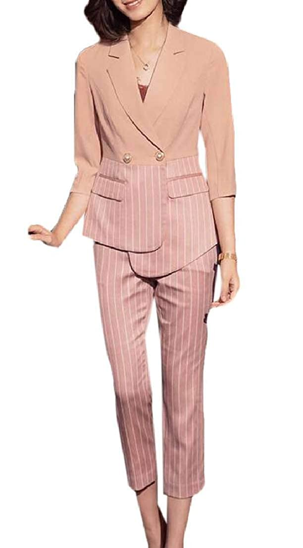 GRMO Women 2 Piece Outfits Half Sleeve OL Work Stripe Suits Sets Outfits