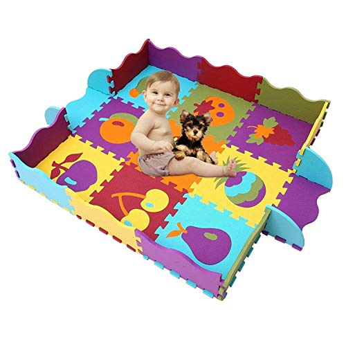 HAN-MM Baby Play Mat with Fence Interlocking Foam Floor Tiles Crawl Mat Baby Tiles Play Puzzle Mat with Softer Thicker EVA Foam Mat for Kids Toddlers Babies Fruit2