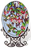 Amia 5668 Large Oval Suncatcher with Hummingbird and Fuchsia Design, 6-1/2-Inch W by 9-Inch L, Hand-painted Glass