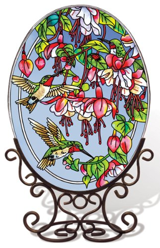 Amia 5668 Large Oval Suncatcher with Hummingbird and Fuchsia Design, 6-1/2-Inch W by 9-Inch L, Hand-painted Glass by Amia (Image #1)