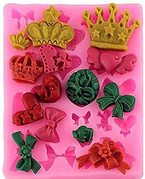 Coronas y lazos 19 cavidad molde de silicona para Fondant, pasta de goma & Chocolate