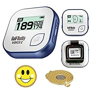 GolfBuddy Voice 2 Golf GPS/Rangefinder Bundle With Magnetic Hat Clip Ball Marker (Smiley Face) from American Healthcare