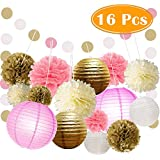 Paxcoo 16 Pcs Pink And Gold Party Supplies With Paper Lanterns Tissue Pom Poms For