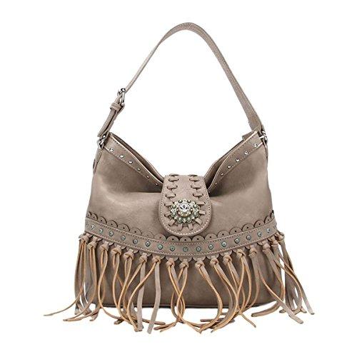 Casual Women's Whipstitched Shoulder Hobo Bag - Handbag - Fringed, Rhinestones, ()