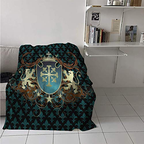Super Soft Lightweight Blanket, Heraldic Design of a Middle Ages Coat of Arms Cross Crown Lions Swirls, Custom Design Cozy Flannel Blanket 70x50 Inch Teal Black Cinnamon ()