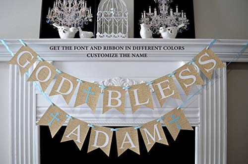 (Baptism banner personalized, First Communion banner, Baptism Banner, God Bless Bunting for First Communion Burlap Garland Baptism Burlap)