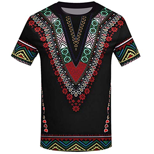 (YOMXL Fashion Men African Printed T Shirt Ethnic V Shape Slim Fit Casual Shirt Short Sleeve O-Neck Top Blouse Black)