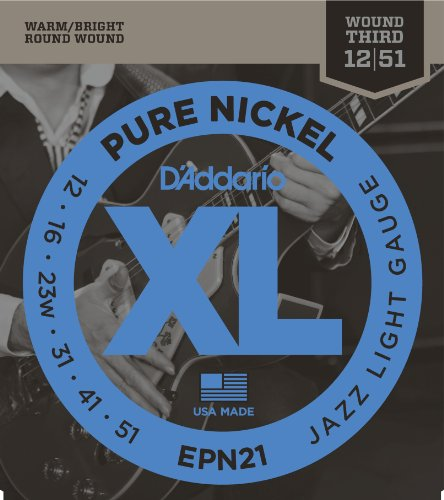 D'Addario EPN21 Pure Nickel Electric Guitar Strings, Jazz Light, .012-.051 (Best Electric Guitar For Jazz)