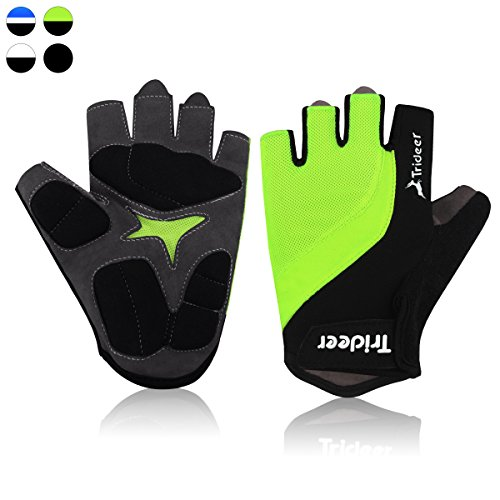 Trideer Ultralight Cycling Gloves (Half Finger) – Breathable Lycra & Anti-Slip Shock - Absorbing Silica Gel Grip, Mountain Road Bike Gloves Men/Women (Grey&Black&Neon Yellow, L (Fits 8.0-8.7 inches)) -