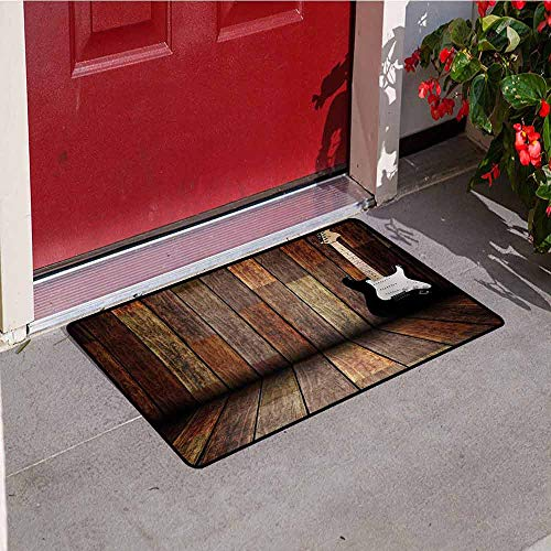 Jinguizi Popstar Party Commercial Grade Entrance mat Electric Guitar in The Wooden Room Country House Interior Music Theme for entrances garages patios W47.2 x L60 Inch Brown Black White