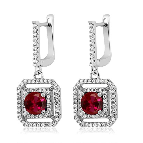 3.51 Ct Round Red Created Ruby 925 Sterling Silver Dangling Earrings (Ring Ruby Dangling)