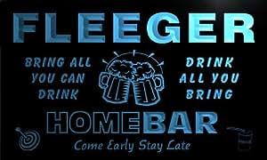 q14764-b FLEEGER Family Name Home Bar Beer Mug Cheers Neon Light Sign
