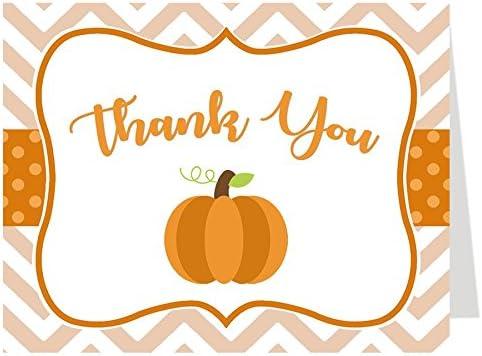 Thank You Cards, Baby Shower Thank You Cards, Chevron Little Pumpkin, White, Orange, Brown, Green, Polka Dots, Chevron Stripes, Pumpkin, Fall Baby, Autumn, Set of 50 Folding Notes with Envelopes