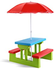 Costzon Easy Store Large Picnic Table with Umbrella Garden Yard Folding Children Bench Outdoor