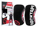 RockTape Knee Sleeves, 2-Pack, Competition Grade, 7mm Thickness, Compression Neoprene, Extra Long for VMO Support, Assassins, Red, XL