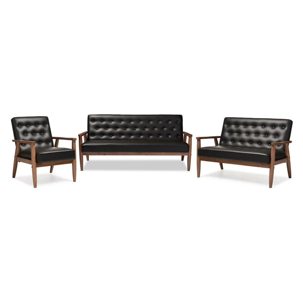 3-Pc Living Room Set in Black