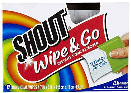 Stain Removal Wipes - Shout Wipe & Go Instant Stain Remover - 12 CT