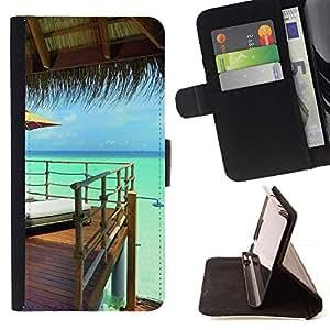 For Sony Xperia M2 Case , Naturaleza Hermosa Forrest Verde 158- la tarjeta de Crédito Slots PU Funda de cuero Monedero caso cubierta de piel