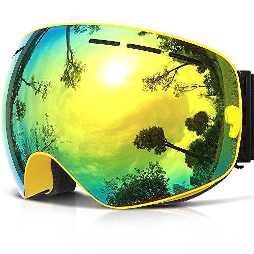 Ski Goggles,COPOZZ G1 Mens Womens Ski Snowboard Snowboarding Goggles - Over Glasses Double Lens Anti Fog Frameless,Cool REVO Mirror Yellow For Men Women Youth Snowmobile - Amazon Goggles Mens