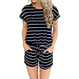 ANRABESS Women's Summer Short Sleeve Striped Jumpsuit Rompers with Pockets Short Pant Rompers Playsuit Navy+White-M BYF-35