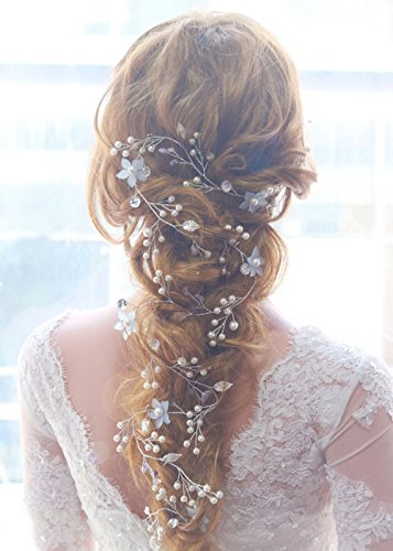 Missgrace 39.4 IN Wedding Purple Crystal Rhinestones Bridal Blue Flower Hair Vine Women Hair Accessorie ()