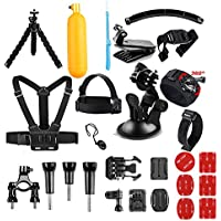 AKASO Accessories Kit for GoPro Hero/ AKASO Action Camera, Accessory Bundle with Chest Strap/ Suction Cup/ Bike Mount/ Anti-fog Inserts