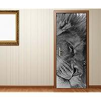 Deursticker zwart wit leeuw leeuwen dieren paar liefde bruiloft deur afbeelding deurposter deurfolie print sticker…