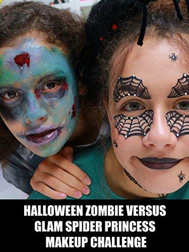 Halloween Zombie Versus Glam Spider Princess Makeup Challenge -