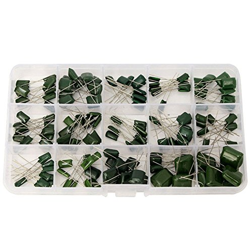 WINGONEER 150PCS 15 Value(each 10pcs) 100V 0.33NF- 470NF Polyester Film Capacitor Assortment Kits + Plastic Box