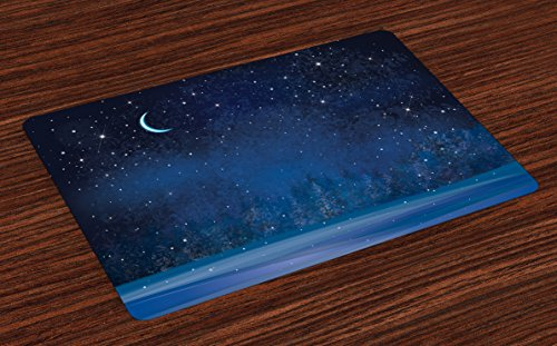 Ambesonne Moon Place Mats Set of 4, Mystical Winter Season Wonderland with Starry Sky Dark Night Forest Landscape, Washable Fabric Placemats for Dining Table, Standard Size, Blue
