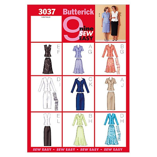 (BUTTERICK PATTERNS B3037 Misses'/Misses' Petite Top, Skirt & Scarf, Size 14-16-18)
