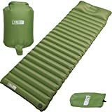 Excellent Fast & Easy Inflatable Ultralight Sleeping Pad Camping,Thick insulation mat w/Builtin Pillow & Inflating bag: Compact & Lightweight Air Mattress for Hiking and Backpacking,Closed-cell design
