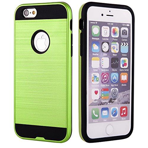 EGO® Hard Case Schutz Hülle für iPhone 6 6s Grün Metallic Effect Brushed Handy Cover Schale Bumper Etui Top-Qualität
