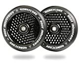 120mm Honeycore Pro Stunt Trick Kick Scooter Wheels (Pair) - Fast Hollowcore - Push Scooter Tires - 120mm Freestyle Speed Urethane - Fit Most Setups - 24mm x 120mm - Bearings (Black/Black)