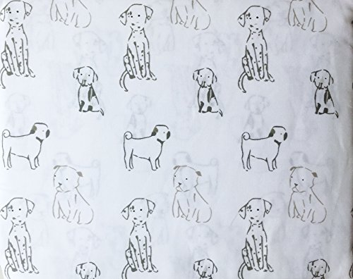 Cynthia Rowley 4 Piece Queen Size Cotton Sheet Set Gray Dogs Puppies on White by Cynthia Rowley New York