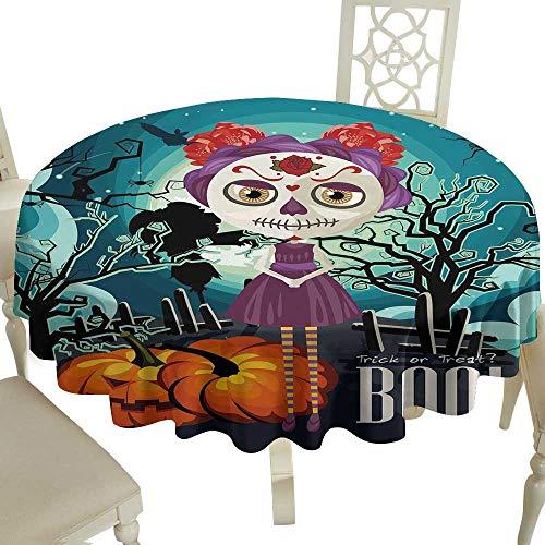 Cranekey Print Round Tablecloth 70 Inch Halloween,Cartoon Girl with Sugar Skull Makeup Retro Seasonal Artwork Swirled Trees Boo,Multicolor for Home,Party,Wedding & More -