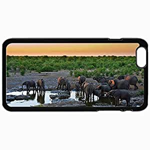 Customized Cellphone Case Back Cover For iPhone 6 Plus, Protective Hardshell Case Personalized Beasts Elephants At The Watering 29763 Black